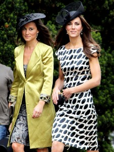 Kate and Pippa at a wedding - Kate in Diane Von Furstenberg