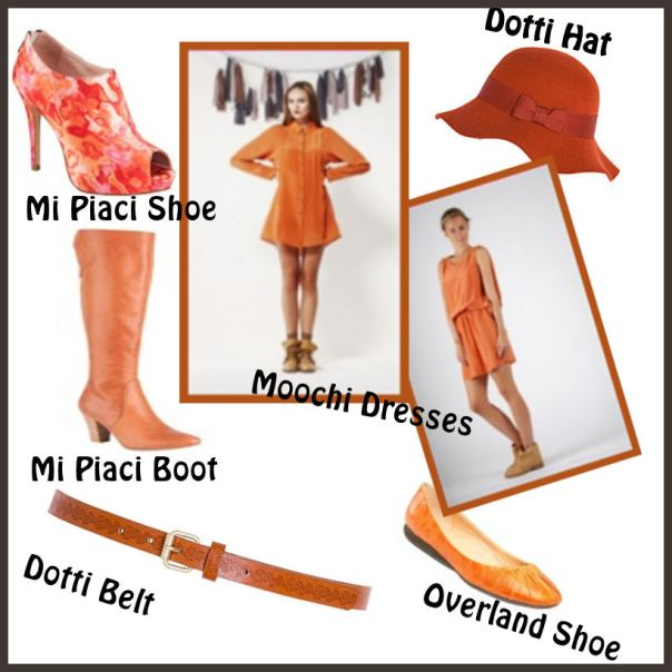 Orange garments in the shops
